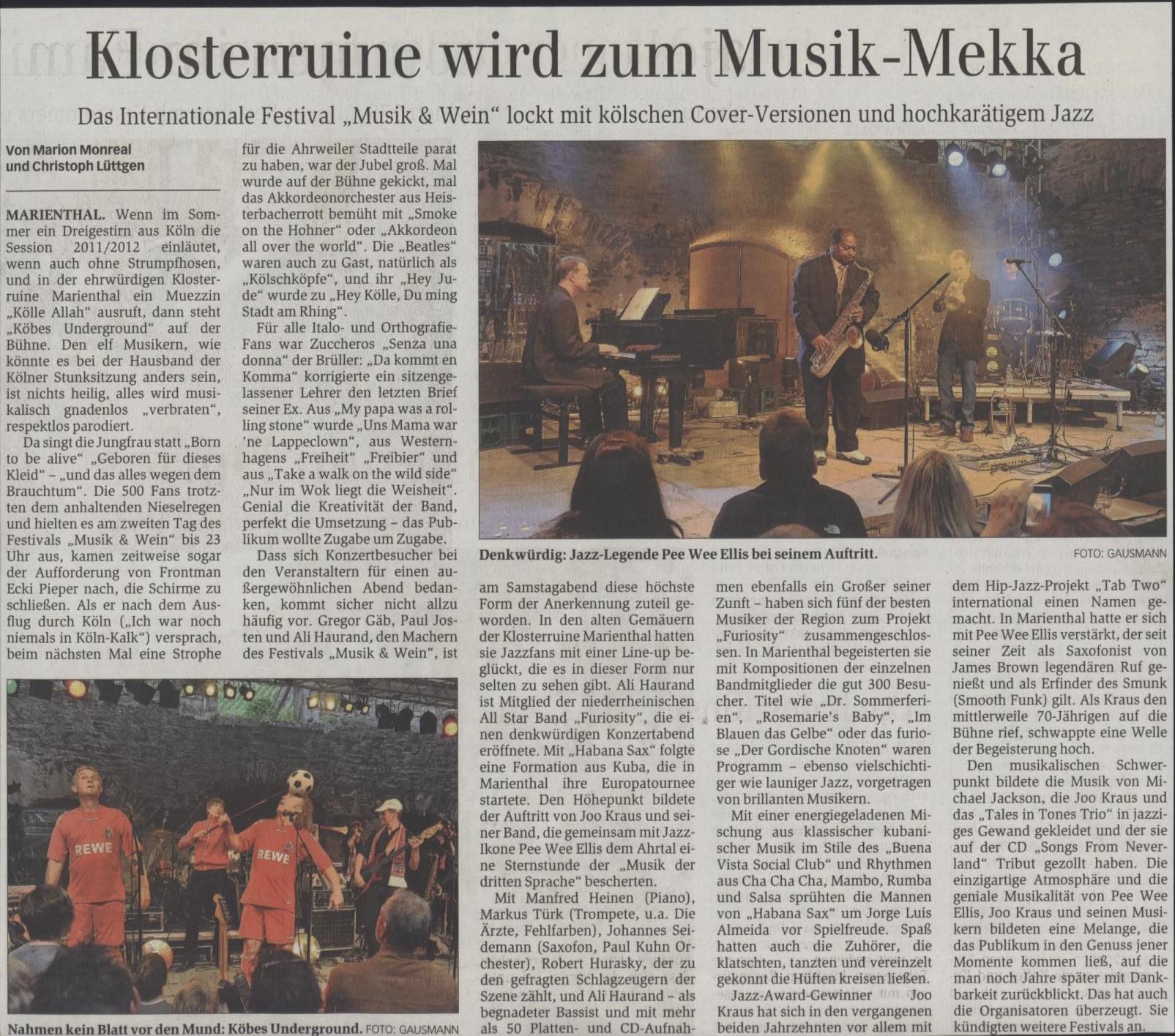 Festival Musik & Wein im Ahrtal 2011 Presse Jazz + Koebes