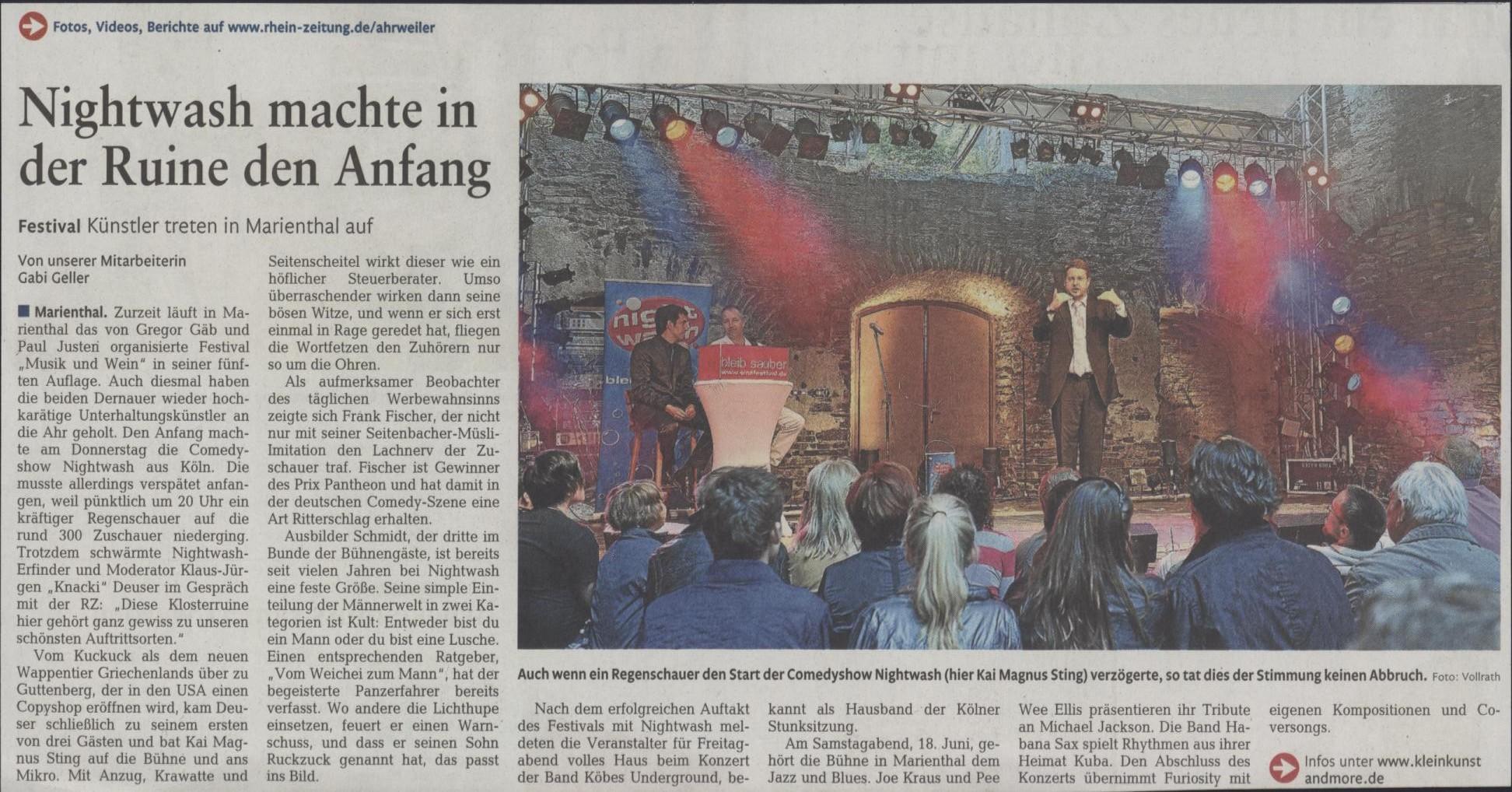Festival Musik und Wein im Ahrtal 2011 Presse Nightwash