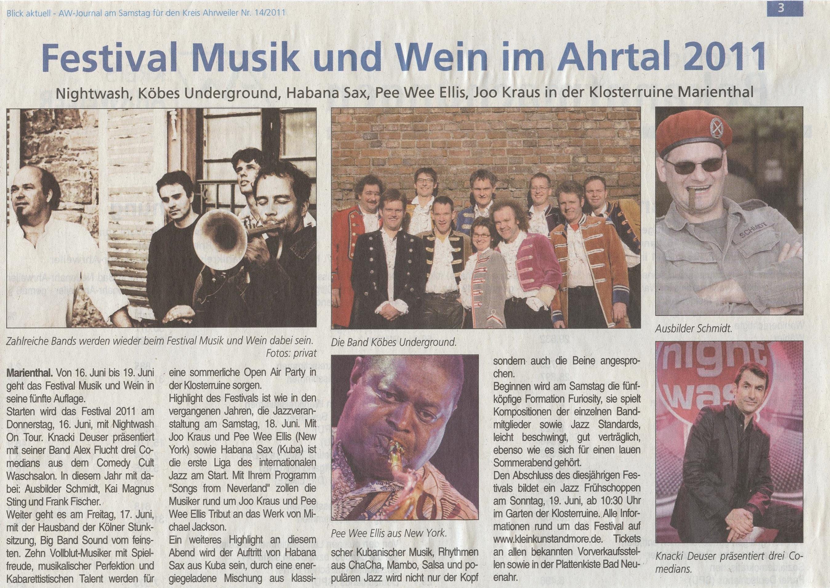 Festival Musik und Wein in der Klosterruine Marienthal 2011 Vorberichte