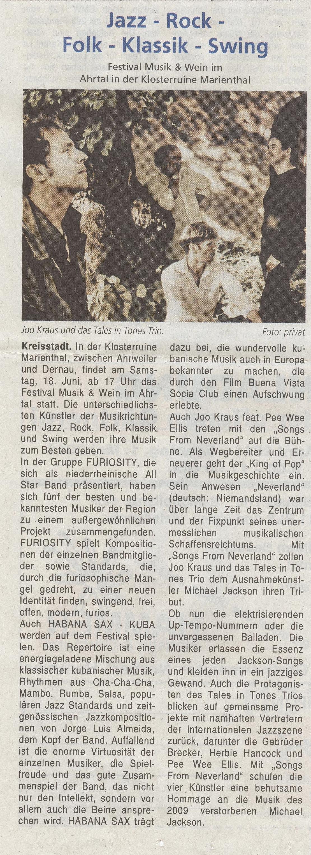 Jazz-Rock-Folk-Klassik-Swing im Ahrtal in der Klosterruine  Jazzvorbericht 2011